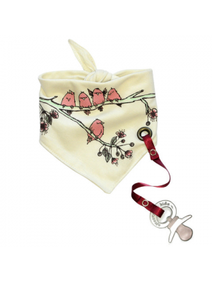 Bandana Bib with pacifier holder - Cherry Tree