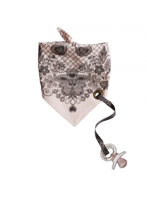 Bandana Bib with pacifier clip - Dentelle