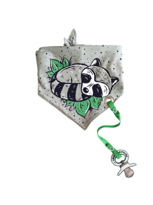 Bandana Bib with pacifier holder - Raccoon