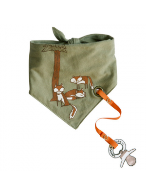 Bandana Bib with pacifier holder - Fox Family