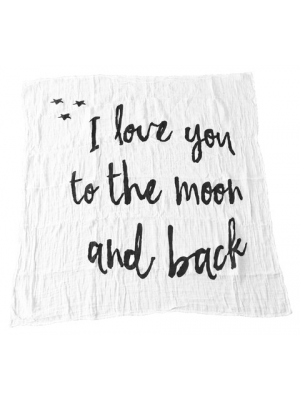 Modern Burlap Filt I love you to the moon and back