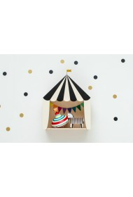 "Mini circus box ""clear the ring!"" svart/vit"