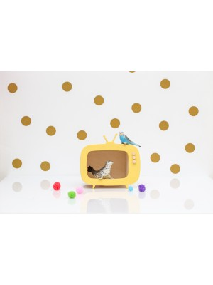 TV shelf mini teevee yellow